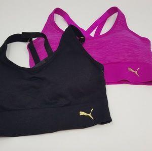 NWOT Set of 2 Puma black and fuchsia sports bras